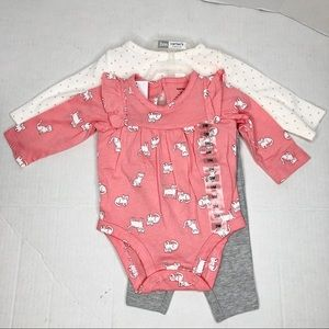 Baby girl 3 piece outfit set long sleeve shirts